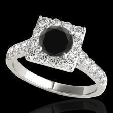 Genuine 2.50 CTW Certified Black Genuine Diamond Bridal Solitaire Halo Ring Gold - 34144-REF#103X7A