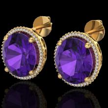 Genuine 20 CTW Amethyst & Micro Pave Diamond Certified Halo Pave Earrings 18K Gold - 20263-REF#102N2G