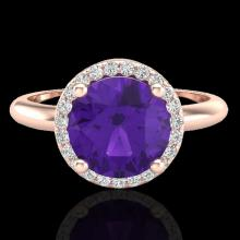 Natural 2.0 CTW Amethyst & Micro Pave Diamond Certified Ring Halo 14K Gold - 23204-REF#38F3M