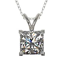 Genuine 1.25 CTW Certified Quality Princess Genuine Diamond Necklace Gold - 33214-REF#336A5N