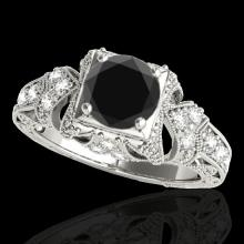 Genuine 1.25 CTW Certified Black Genuine Diamond Solitaire Antique Ring Gold - 34669-REF#62K7T
