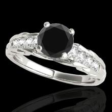 Genuine 1.20 CTW Certified Black Genuine Diamond Solitaire Bridal Ring Gold - 34937-REF#48Y8V