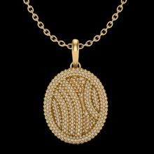 Natural 1.0 CTW Micro Pave Diamond Certified Necklace 14K Gold - 20510-REF#72X9A