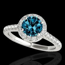 Genuine 1.40 CTW Certified Fancy Blue Genuine Diamond Solitaire Halo Ring Gold - 33585-REF#108Z5Y