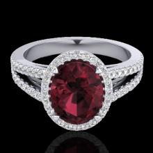 Genuine 3.0 CTW Garnet & Micro Pave Diamond Certified Halo Solitaire Bridal Ring 18K Gold - 20941-REF#55G5W