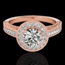 Genuine 1.50 CTW Certified G-I Genuine Diamond Bridal Solitaire Halo Ring Gold - 33743-REF#135A5N