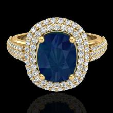 Natural 3.50 CTW Sapphire & Micro Pave Diamond Certified Halo Ring 18K Gold - 20724-REF#109Z2Y