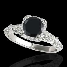 Genuine 1.36 CTW Certified Black Genuine Diamond Bridal Solitaire Halo Ring Gold - 33754-REF#63H2R