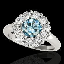 Genuine 2.09 CTW Certified Fancy Blue Genuine Diamond Solitaire Halo Ring Gold - 34428-REF#150X2A