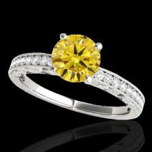 Genuine 1.18 CTW Certified Fancy Intense Genuine Diamond Solitaire Antique Ring Gold - 34610-REF#95X7A