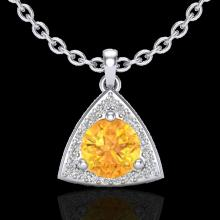 Genuine 1.50 CTW Citrine & Micro Pave Halo Solitaire Diamond Necklace 18K Gold - 20521-REF#35M2H