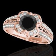 Genuine 2.05 CTW Certified Black Genuine Diamond Bridal Solitaire Halo Ring Gold - 34269-REF#90T3X