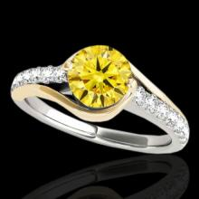 Genuine 1.25 CTW Certified Fancy Intense Genuine Diamond Solitaire Ring 2 Tone Gold - 35554-REF#107N7G
