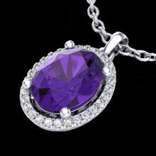 Genuine 2.50 CTW Amethyst & Micro Pave Diamond Certified Necklace Halo 18K Gold - 21067-REF#39Y2V