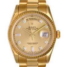 Pre-owned Excellent Condition Authentic Rolex Quickset Men's 18K Yellow Gold Day-Date Champagne Dial Watch - REF#-980M8F