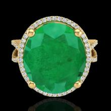12 CTW Emerald & Micro Pave Diamond Certified Halo Ring 18K Yellow Gold - 20961-REF#95N3F