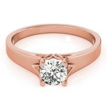 1 CTW Certified Fancy Intense Genuine Diamond Solitaire Bridal Ring 10K Rose Gold - 35163-REF#91M5G