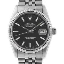 Pre-owned Excellent Condition Authentic Rolex Non-Quickset Men's Stainless Steel DateJust Black Dial Watch - REF#-210R2H