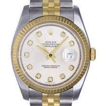Pre-owned Excellent Condition Authentic Rolex Quickset Men's 18K/Stainless Steel DateJust White Dial Watch - REF#-310W4G