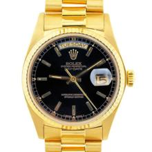 Pre-owned Excellent Condition Authentic Rolex Quickset Men's 18K Yellow Gold Day-Date Black Dial Watch - REF#-960H4M