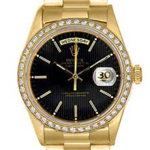 Pre-owned Excellent Condition Authentic Rolex Quickset Men's 18K Yellow Gold Day-Date Black Dial Watch - REF#-1060F4V