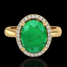 3 CTW Emerald & Micro Pave Diamond Certified Ring Halo 18K Yellow Gold - 21104-REF#38X8Y