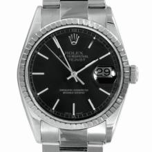 Pre-owned Excellent Condition Authentic Rolex Non-Quickset Men's Stainless Steel DateJust Black Dial Watch - REF#-240A2Z