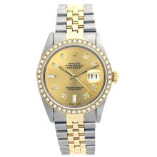 Pre-owned Excellent Condition Authentic Rolex Quickset Men's 18K/Stainless Steel DateJust Champagne Dial Watch - REF#-410Y2X