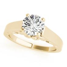 1 CTW Certified G-I Genuine Diamond Solitaire Bridal Ring 10K Yellow Gold - 35139-REF#92G2M