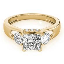 1.60 CTW Certified G-I Princess Cut Genuine Diamond 3 Stone Bridal Ring 10K Yellow Gold - 35423-REF#187Y8X