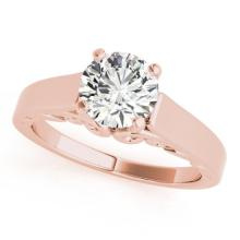 1 CTW Certified Fancy Blue Genuine Diamond Solitaire Bridal Ring 10K Rose Gold - 35143-REF#92V2A