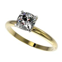 1 CTW Certified Quality Cushion Cut Genuine Diamond Solitaire Ring 10K Yellow Gold - 32902-REF#247F8N