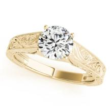 1 CTW Certified G-I Genuine Diamond Solitaire Bridal Ring 10K Yellow Gold - 35184-REF#92Z2T
