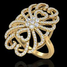 Natural 2.25 CTW Micro Pave Diamond Certified Designer Inspired Ring 18K Gold - 20888-REF#153R4Z