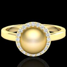 0.25 CTW Micro Pave Halo Diamond Certified & Golden Pearl Ring 18K Yellow Gold - 21632-REF#47M8G