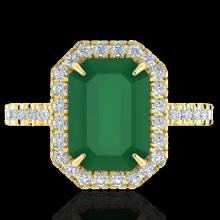 5.33 CTW Emerald And Micro Pave Diamond Certified Halo Ring 18K Yellow Gold - 21426-REF#62G2M