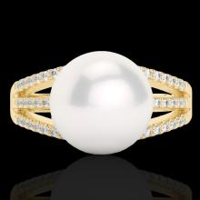 0.30 CTW Micro Pave Diamond Certified & White Pearl Designer Ring 18K Yellow Gold - 22631-REF#45W5H