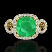 3.15 CTW Emerald & Micro Diamond Certified Ring 18K Yellow Gold - 23002-REF#69M2G
