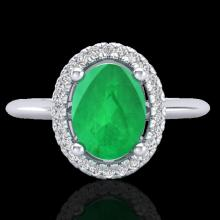 2 CTW Emerald & Micro Pave Diamond Bridal Ring Solitaire Halo 18K White Gold - 21009-REF#43Z9T