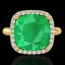 6 CTW Emerald And Micro Pave Halo Diamond Ring Solitaire 18K Yellow Gold - 23098-REF#53H2W