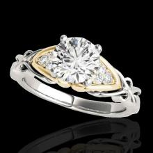 Genuine 1.35 CTW Certified G-I Genuine Diamond Solitaire Bridal Ring Two Tone Gold - 35209-REF#125M8H