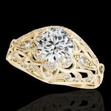 Genuine 1.36 CTW Certified G-I Genuine Diamond Solitaire Bridal Antique Ring Gold - 34713-REF#112F8M