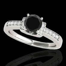 Genuine 1.11 CTW Certified Black Genuine Diamond Solitaire Ring Two Tone Gold - 34831-REF#46Z3Y