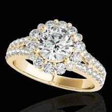 Genuine 2.01 CTW Certified G-I Genuine Diamond Bridal Solitaire Halo Ring Gold - 33933-REF#143N7G