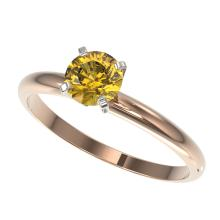 Genuine 0.75 CTW Certified Intense Yellow Diamond Solitaire Engagement Ring Gold - 32883-REF#57T5X