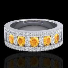 Natural 2.0 CTW Citrine & Micro Pave Diamond Certified Inspired B& Ring 10K Gold - 20822-REF#48W5K