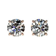 Genuine 1.02 CTW Certified H-I Quality Genuine Diamond Solitaire Stud Earrings Gold - 36567-REF#62G3W