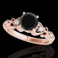 Genuine 1.15 CTW Certified Black Genuine Diamond Solitaire Antique Ring Gold - 34814-REF#47T7X