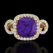 Genuine 3.75 CTW Amethyst & Micro Pave Diamond Certified Ring 18K Gold - 22997-REF#69H8R