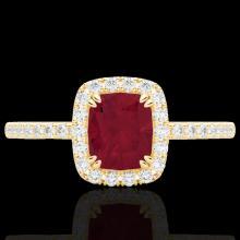 Genuine 1.25 CTW Ruby & Micro Pave Diamond Certified Halo Ring 10K Gold - 22909-REF#25W8K
